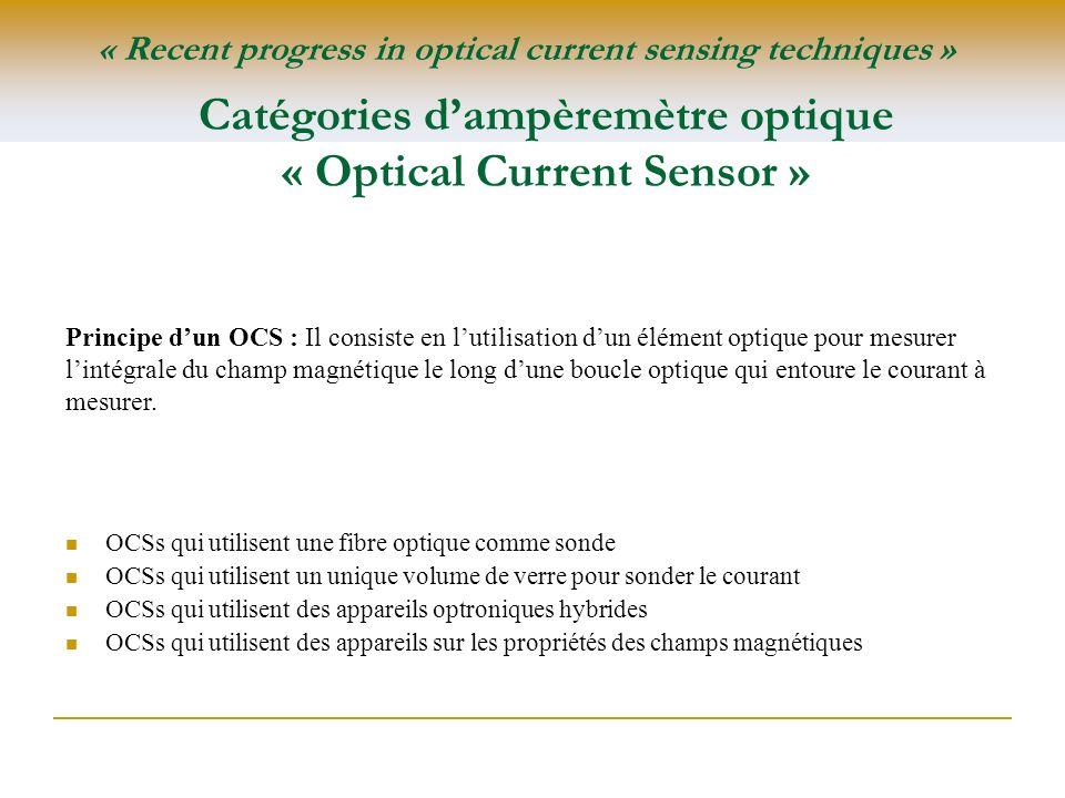 Catégories d'ampèremètre optique « Optical Current Sensor »