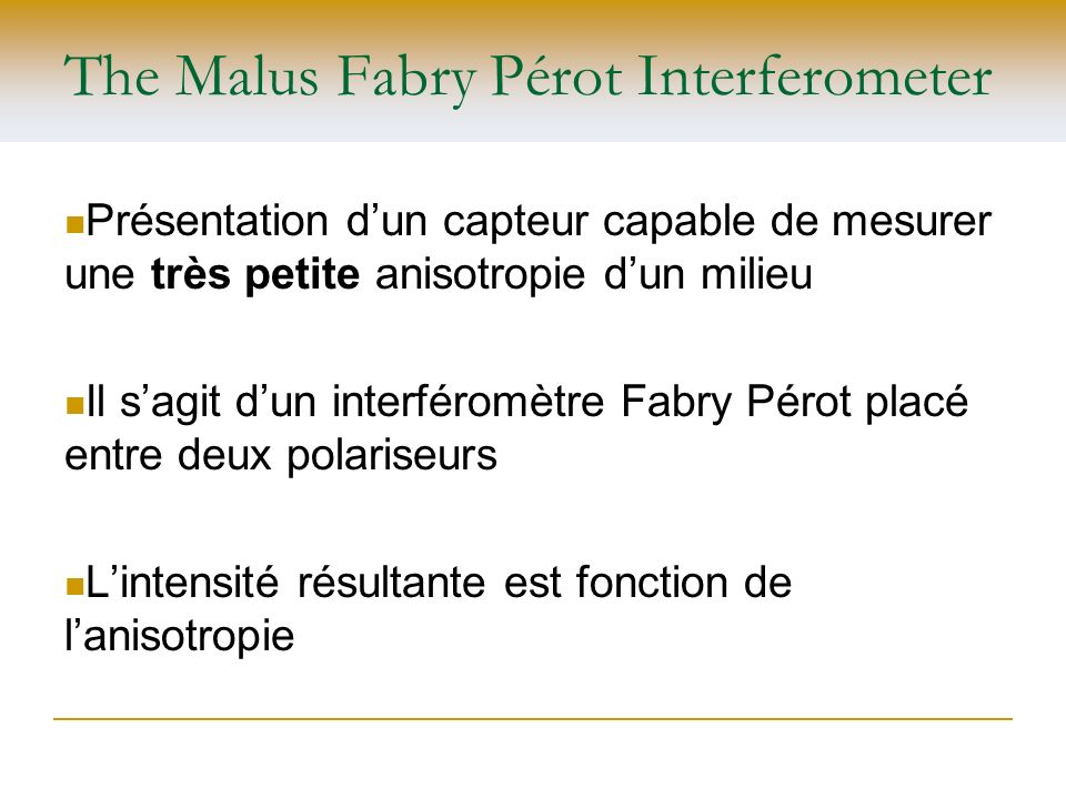 The Malus Fabry Pérot Interferometer