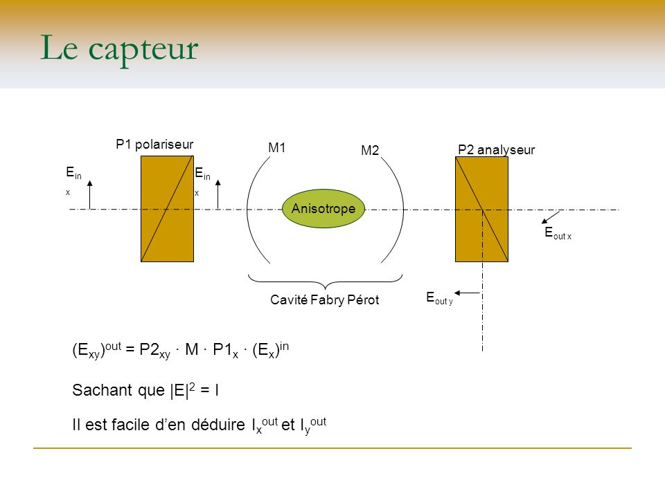 Le capteur (Exy)out = P2xy ∙ M ∙ P1x ∙ (Ex)in Sachant que |E|2 = I