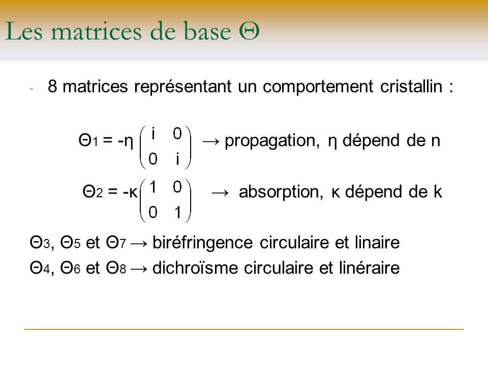 Les matrices de base Θ Θ1 = -η → propagation, η dépend de n