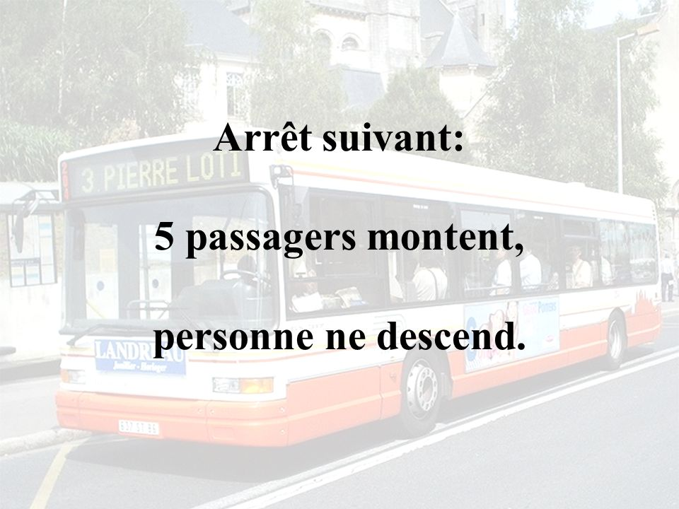Arrêt suivant: 5 passagers montent, personne ne descend.