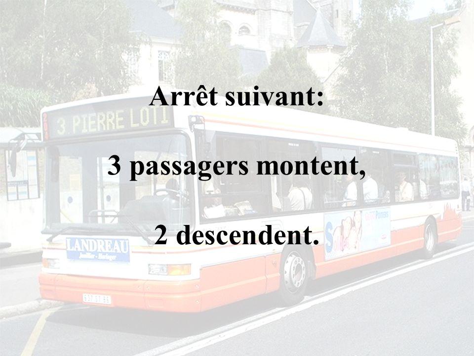 Arrêt suivant: 3 passagers montent, 2 descendent.