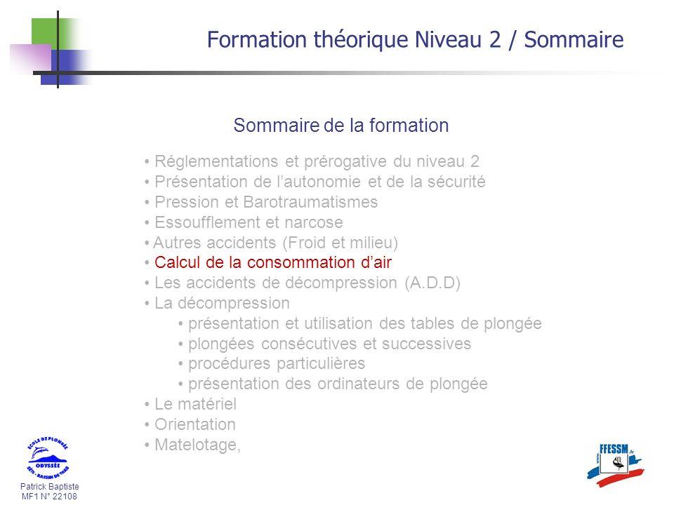 Formation théorique Niveau 2 / Sommaire