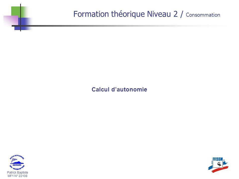 Formation théorique Niveau 2 / Consommation