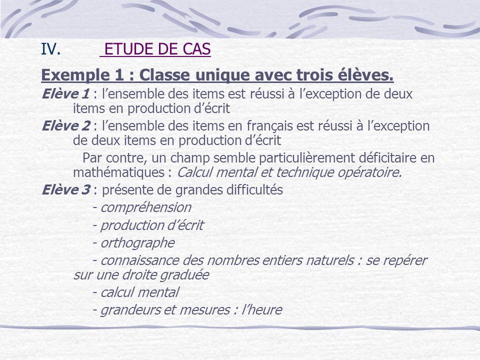 Exemple 1 : Classe unique avec trois élèves.