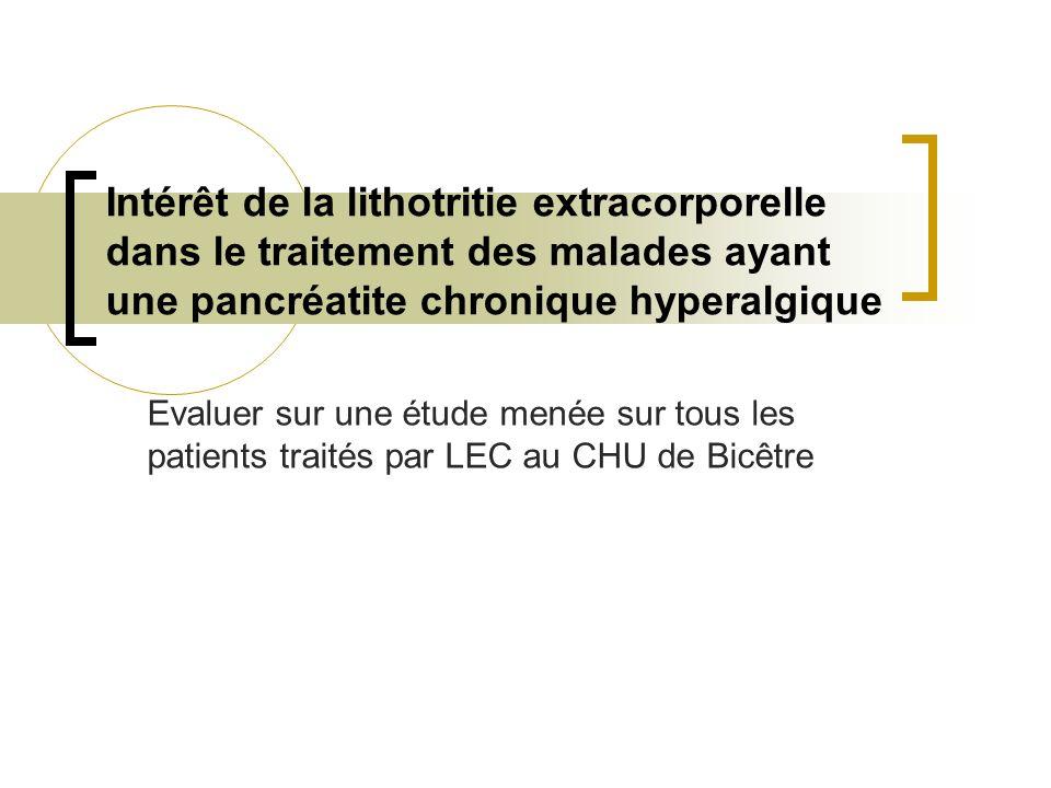 Intérêt de la lithotritie extracorporelle dans le traitement des malades ayant une pancréatite chronique hyperalgique