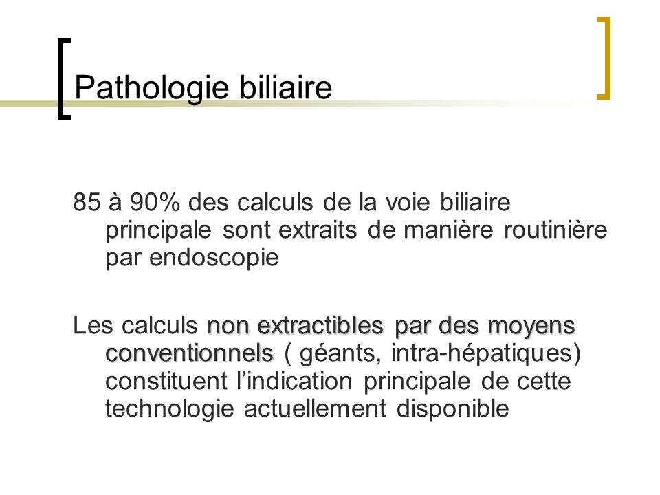 Pathologie biliaire 85 à 90% des calculs de la voie biliaire principale sont extraits de manière routinière par endoscopie.
