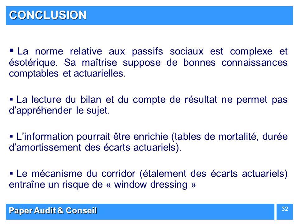 CONCLUSION La norme relative aux passifs sociaux est complexe et ésotérique. Sa maîtrise suppose de bonnes connaissances comptables et actuarielles.