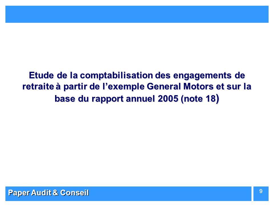 Etude de la comptabilisation des engagements de retraite à partir de l'exemple General Motors et sur la base du rapport annuel 2005 (note 18)