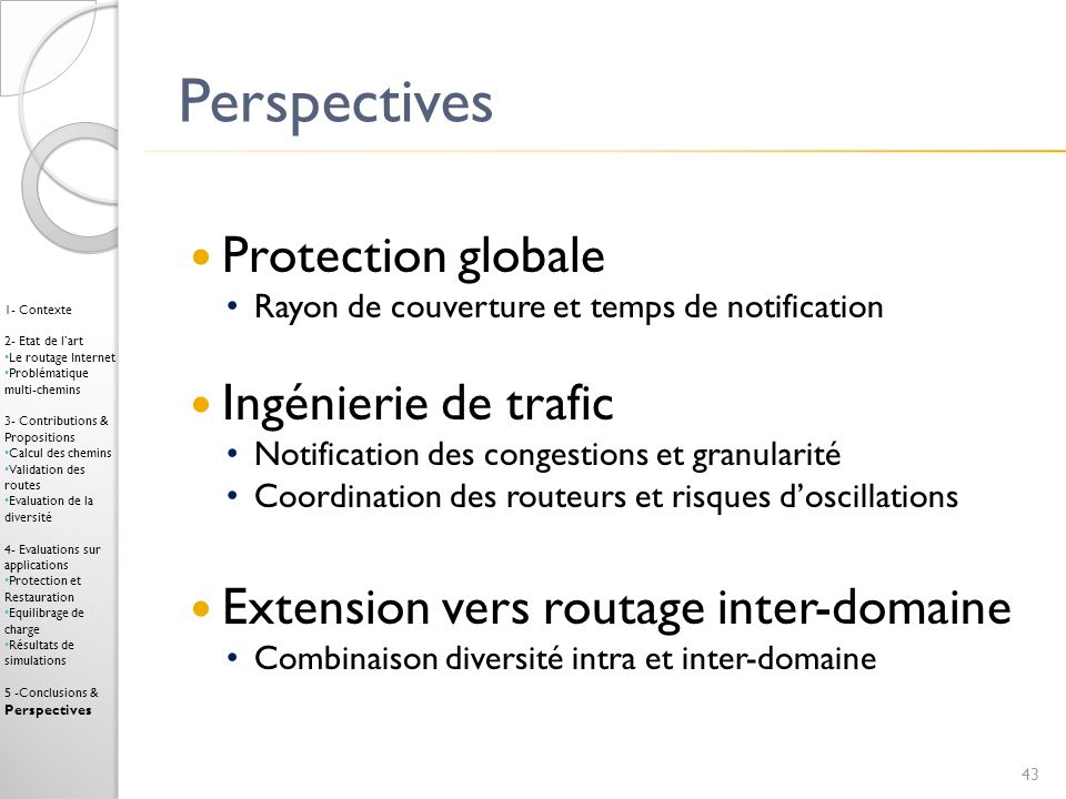 Perspectives Protection globale Ingénierie de trafic