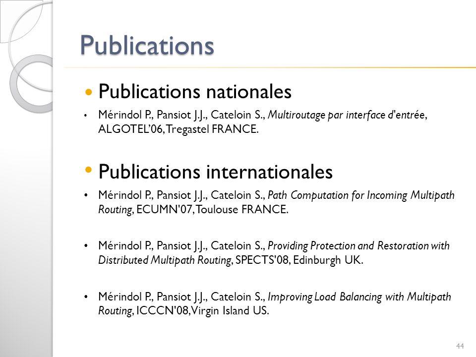 Publications Publications nationales Publications internationales