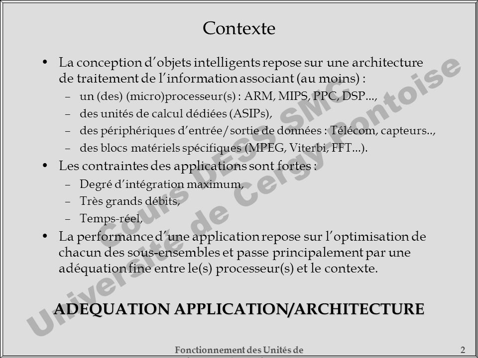 ADEQUATION APPLICATION/ARCHITECTURE