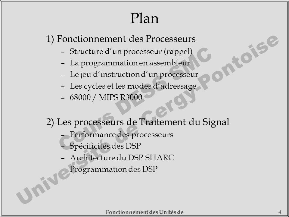 Plan 1) Fonctionnement des Processeurs