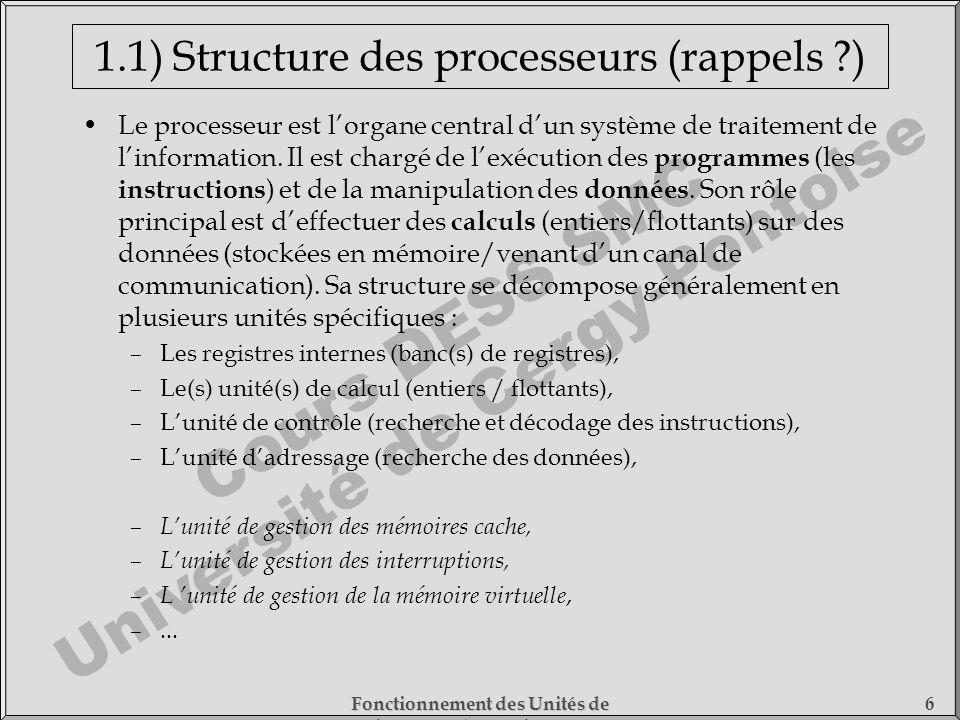 1.1) Structure des processeurs (rappels )