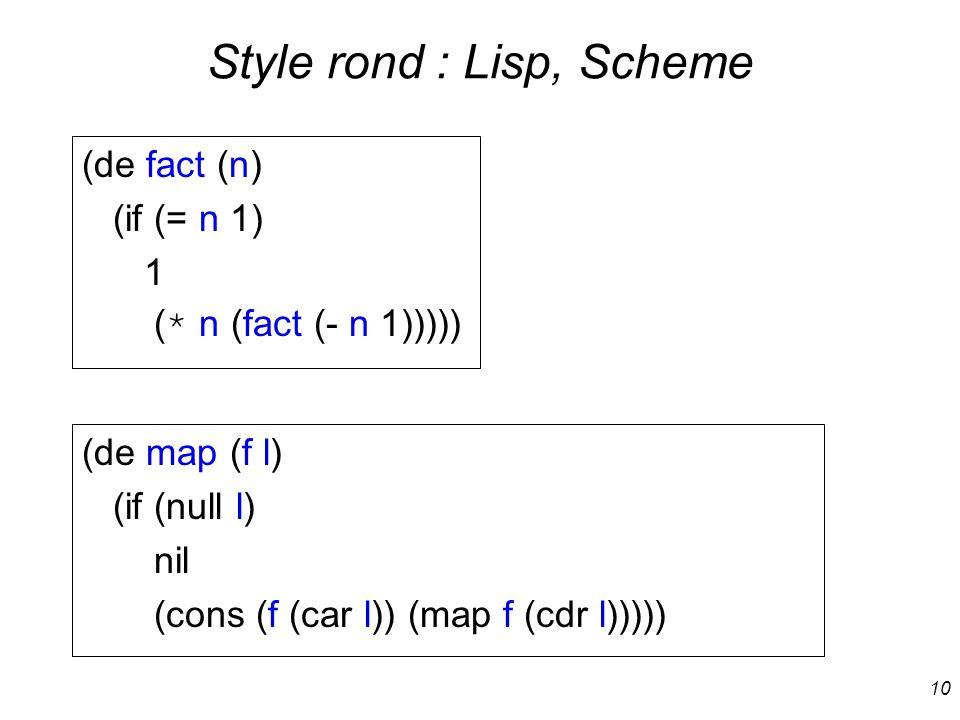 Style rond : Lisp, Scheme
