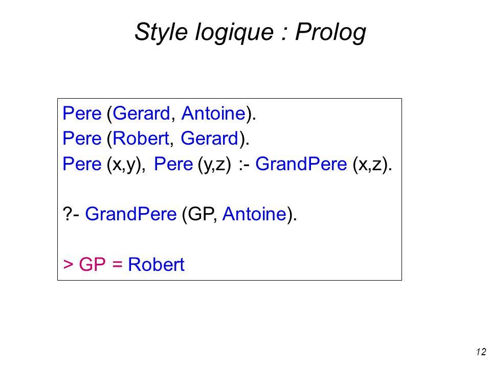 Style logique : Prolog Pere (Gerard, Antoine). Pere (Robert, Gerard).