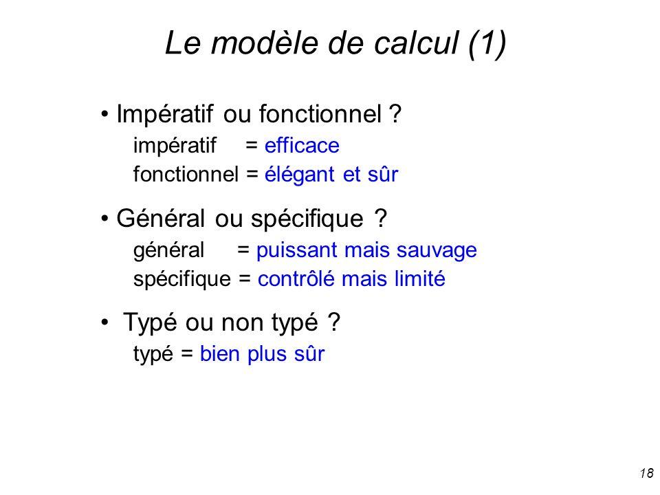 Le modèle de calcul (1) Impératif ou fonctionnel