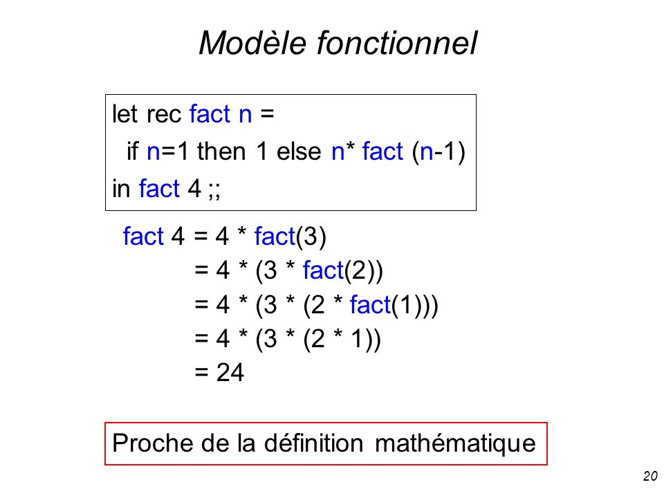 Modèle fonctionnel let rec fact n = if n=1 then 1 else n* fact (n-1)