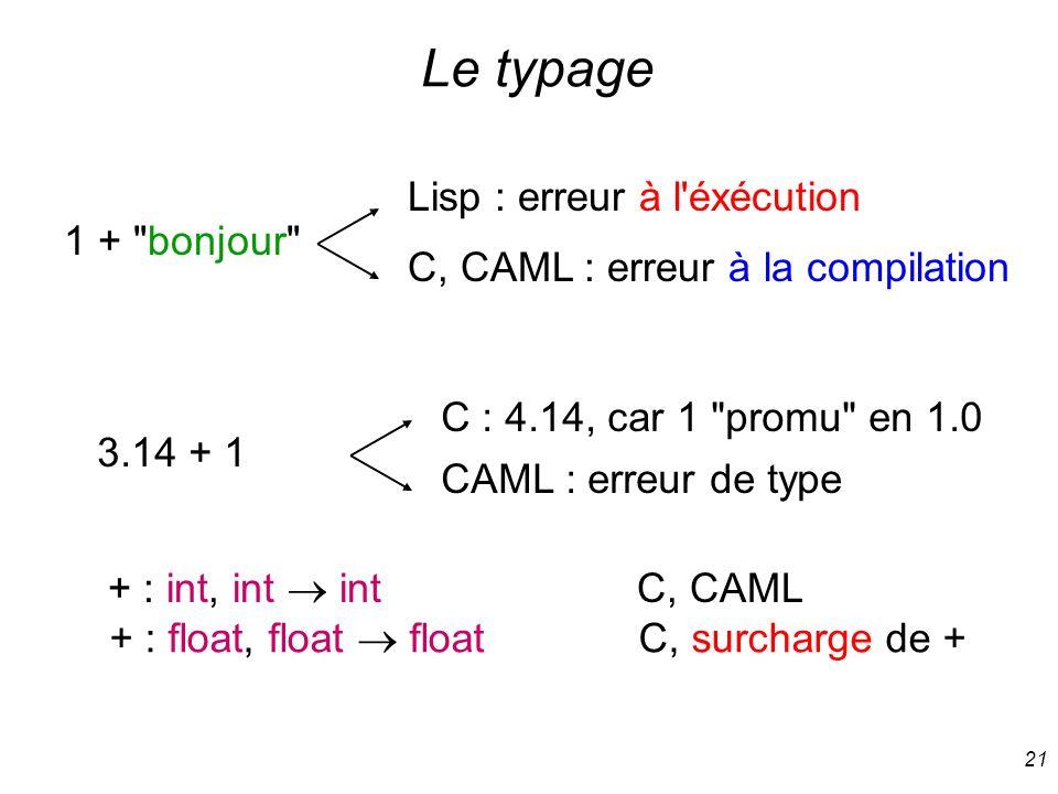 Le typage Lisp : erreur à l éxécution 1 + bonjour
