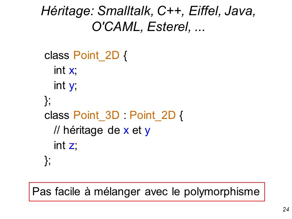 Héritage: Smalltalk, C++, Eiffel, Java, O CAML, Esterel, ...