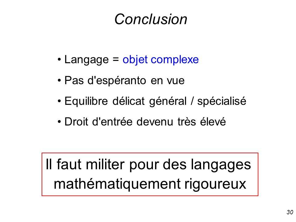 Il faut militer pour des langages mathématiquement rigoureux