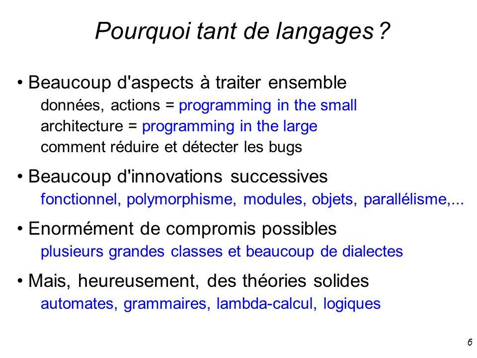 Pourquoi tant de langages