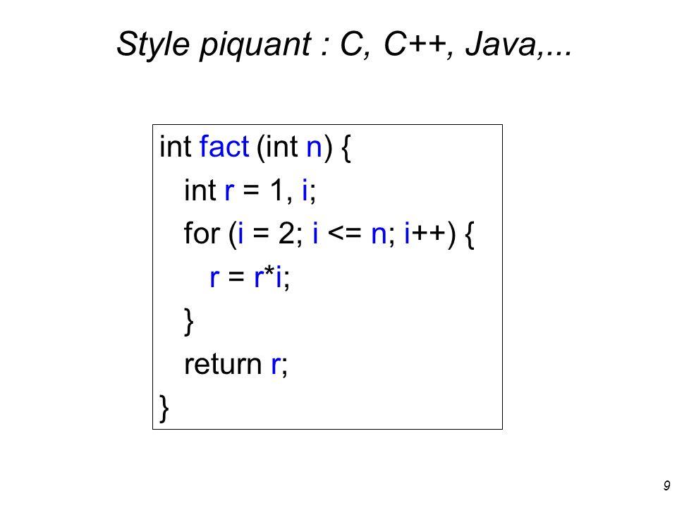 Style piquant : C, C++, Java,...