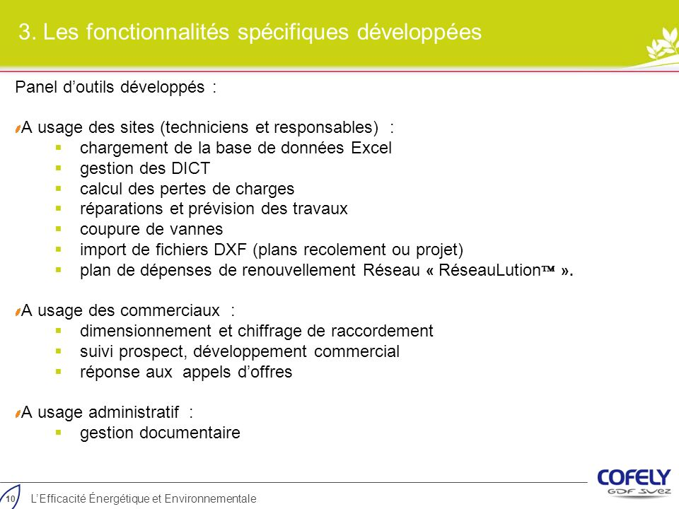3. Les fonctionnalités spécifiques développées