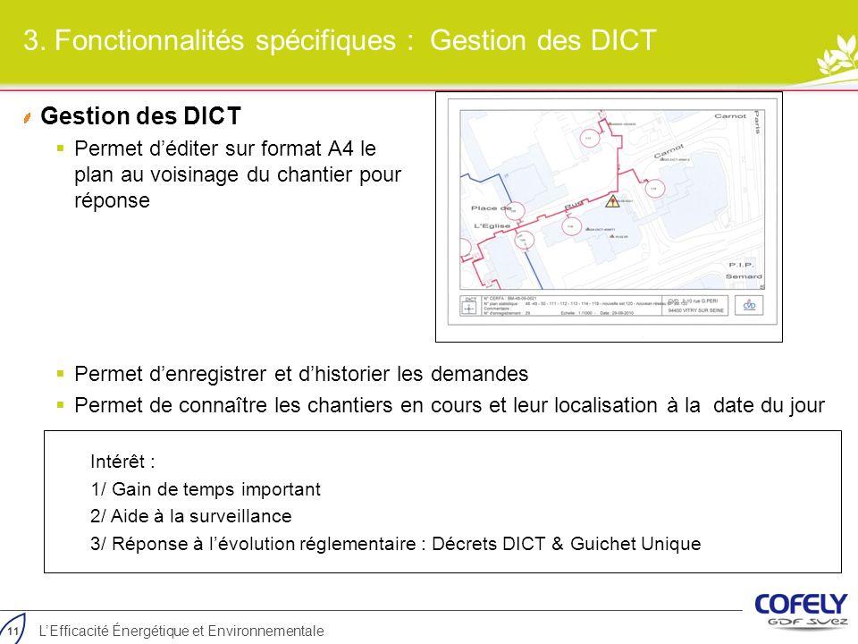 3. Fonctionnalités spécifiques : Gestion des DICT