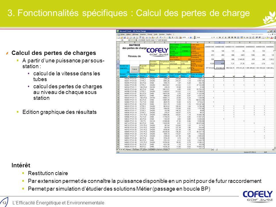 3. Fonctionnalités spécifiques : Calcul des pertes de charge