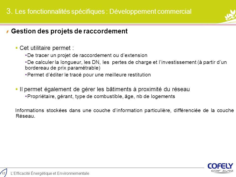 3. Les fonctionnalités spécifiques : Développement commercial