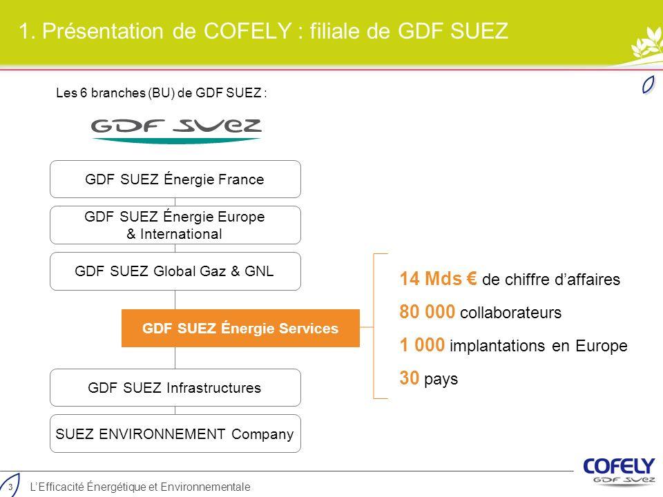 1. Présentation de COFELY : filiale de GDF SUEZ