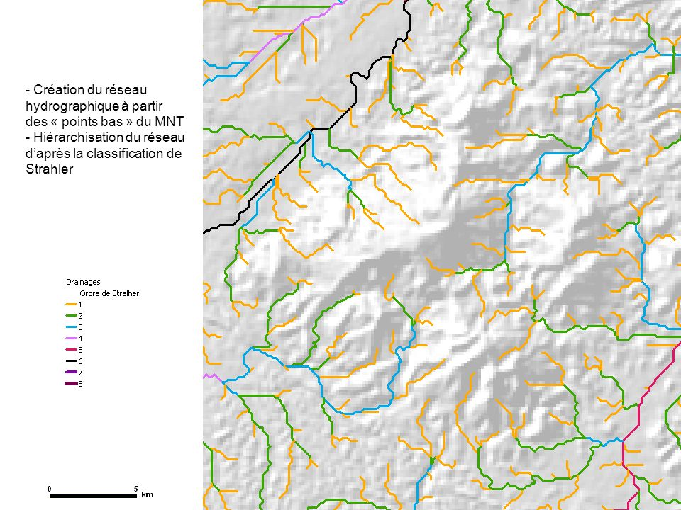 Création du réseau hydrographique à partir des « points bas » du MNT