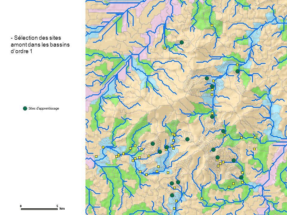 Sélection des sites amont dans les bassins d'ordre 1
