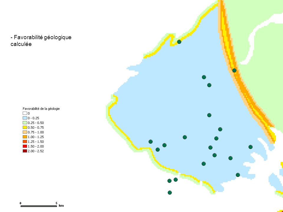 Favorabilité géologique calculée