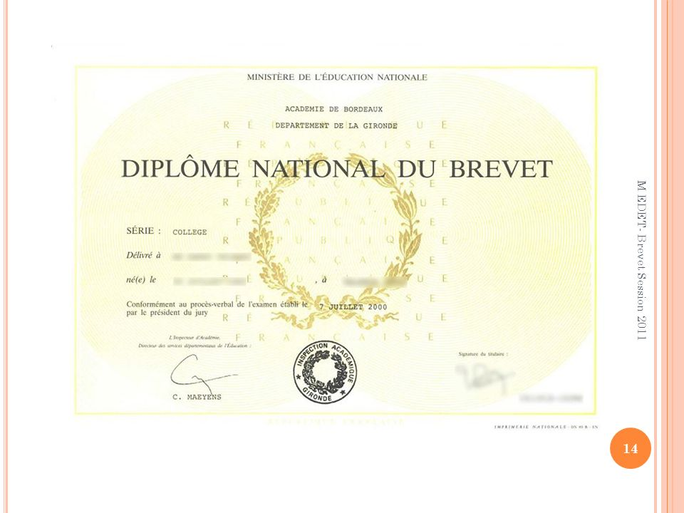 M EDET- Brevet Session 2011
