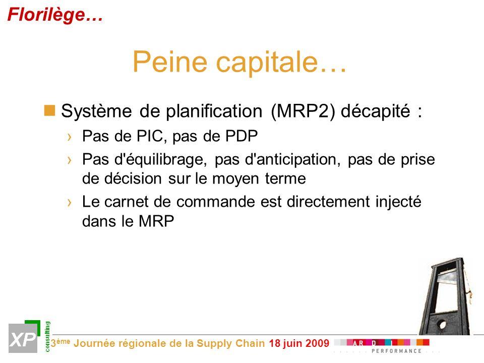 Peine capitale… Florilège… Système de planification (MRP2) décapité :