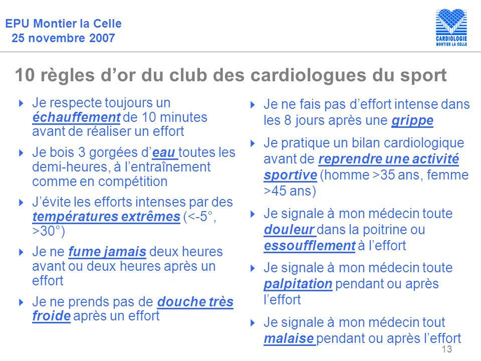 10 règles d'or du club des cardiologues du sport