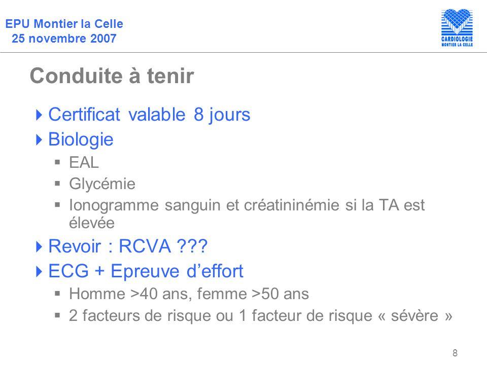 Conduite à tenir Certificat valable 8 jours Biologie Revoir : RCVA