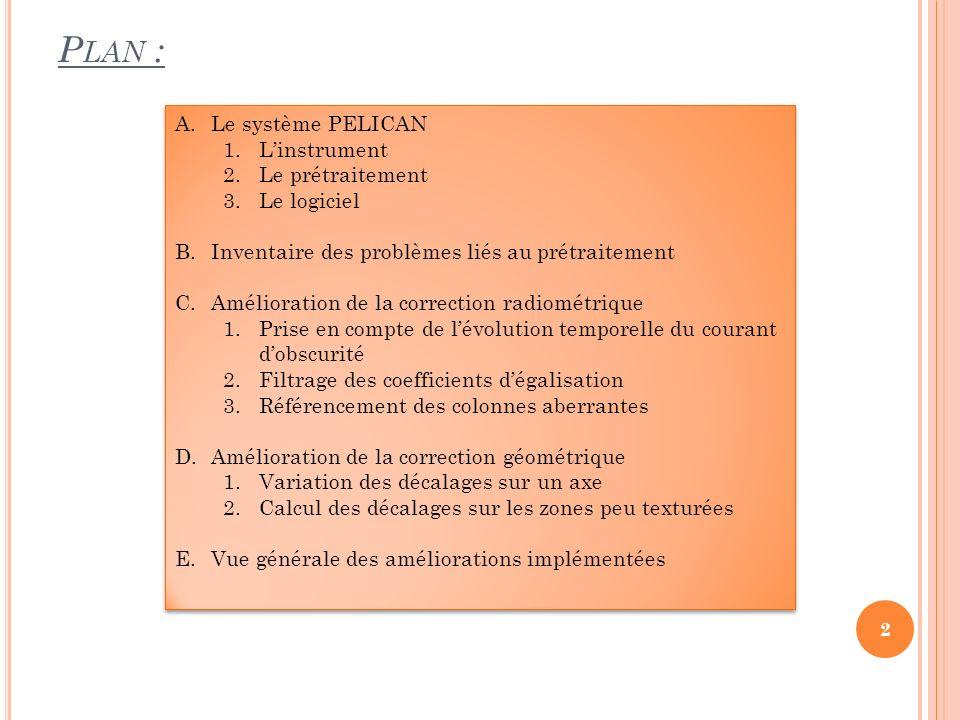Plan : Le système PELICAN L'instrument Le prétraitement Le logiciel