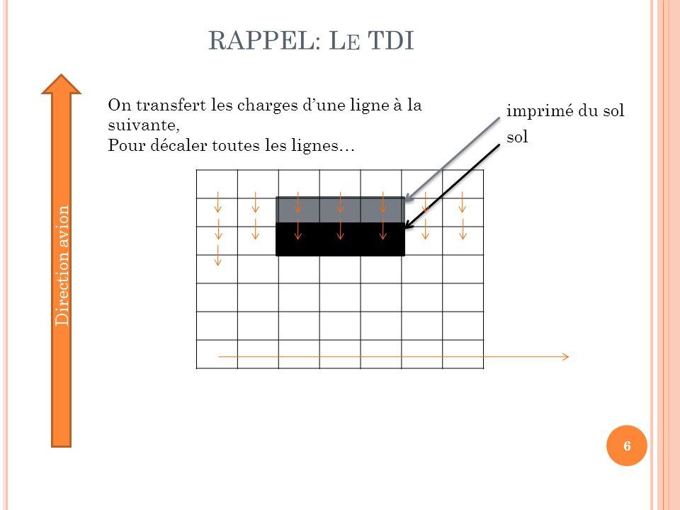 RAPPEL: Le TDI On transfert les charges d'une ligne à la suivante,