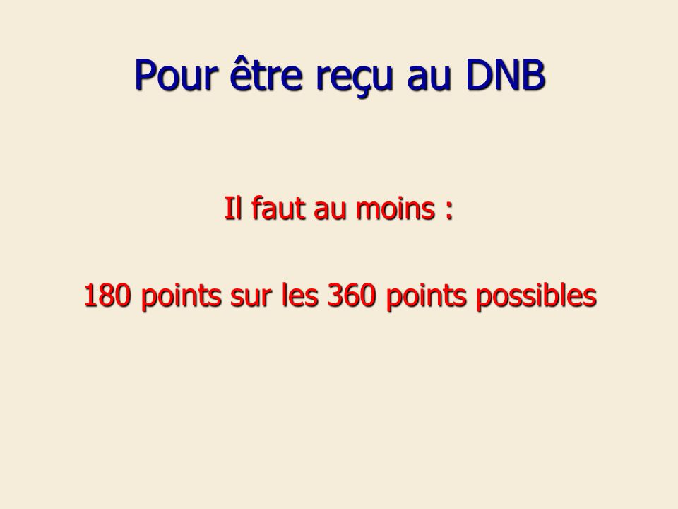 180 points sur les 360 points possibles