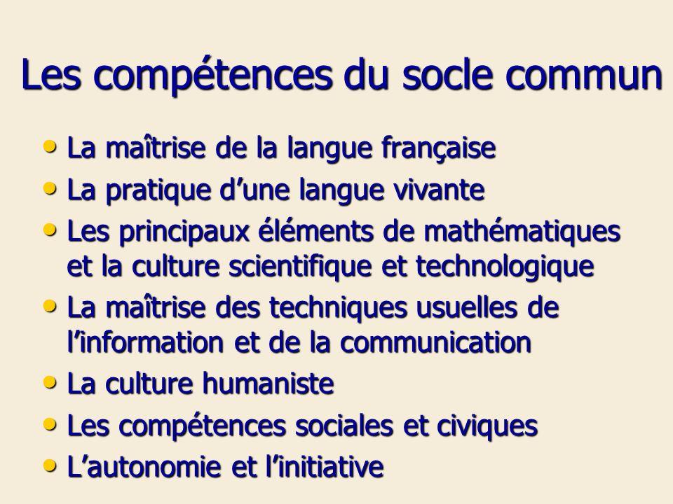 Les compétences du socle commun
