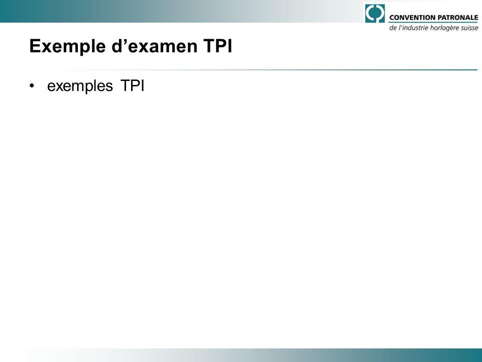 Exemple d'examen TPI exemples TPI