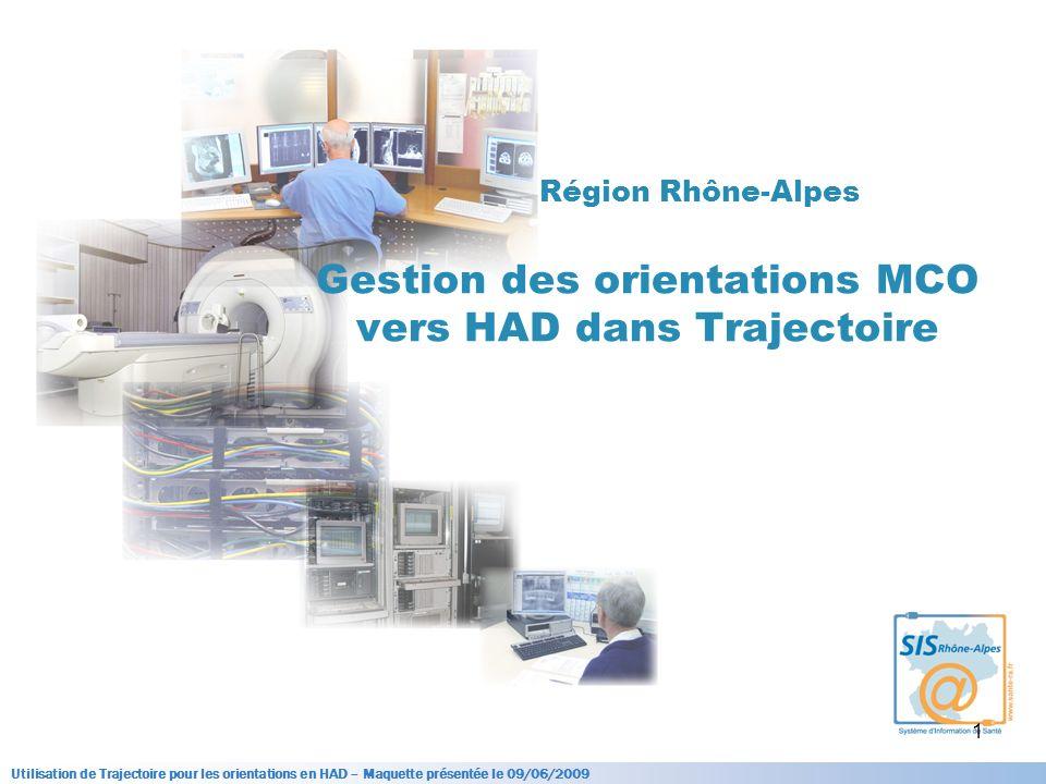Région Rhône-Alpes Gestion des orientations MCO vers HAD dans Trajectoire