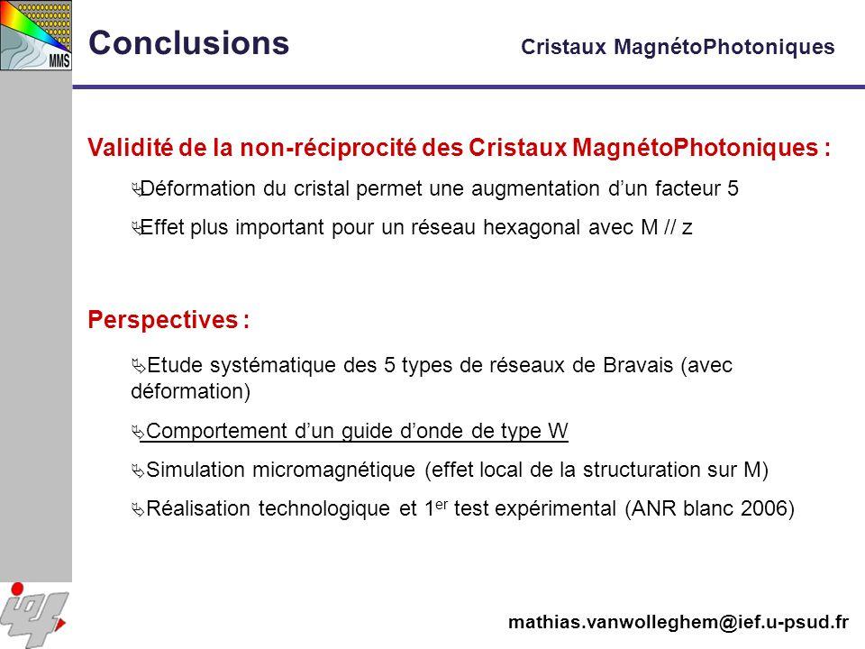Conclusions Cristaux MagnétoPhotoniques