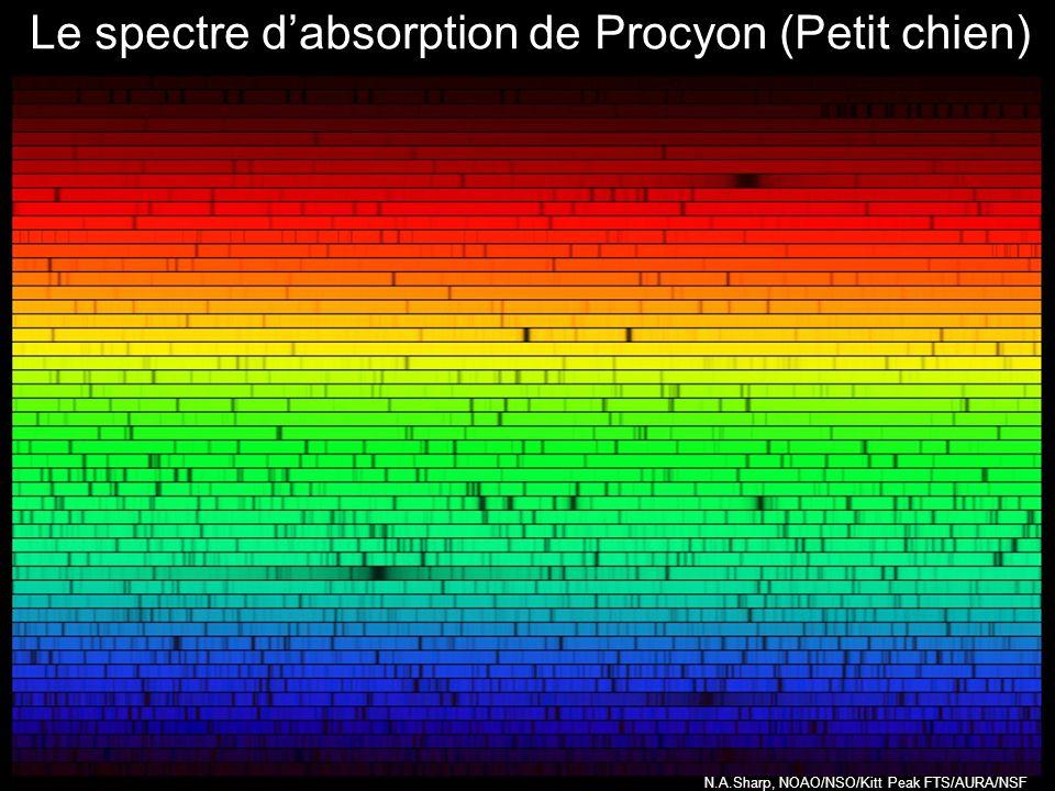 Le spectre d'absorption de Procyon (Petit chien)