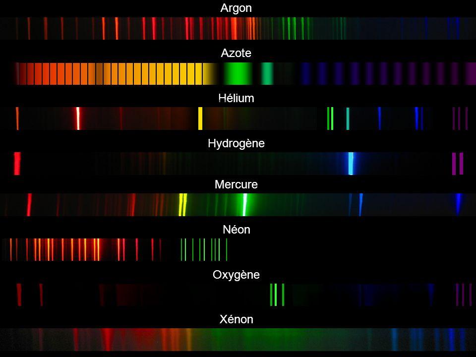 Argon Azote Hélium Hydrogène Mercure Néon Oxygène Xénon