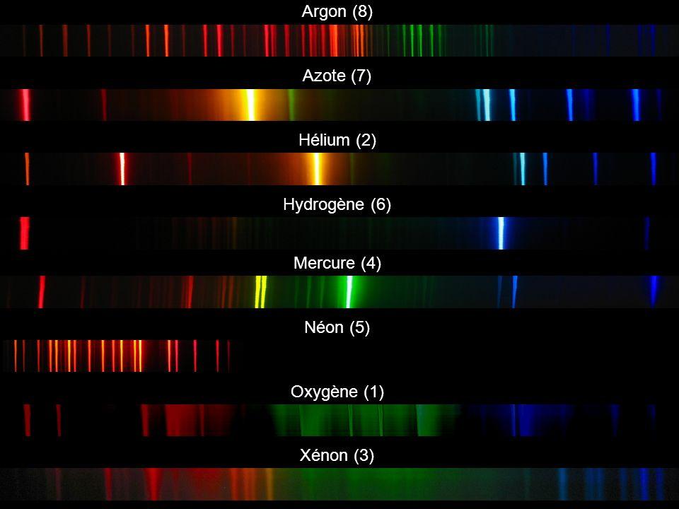 Argon (8) Azote (7) Hélium (2) Hydrogène (6) Mercure (4) Néon (5) Oxygène (1) Xénon (3)