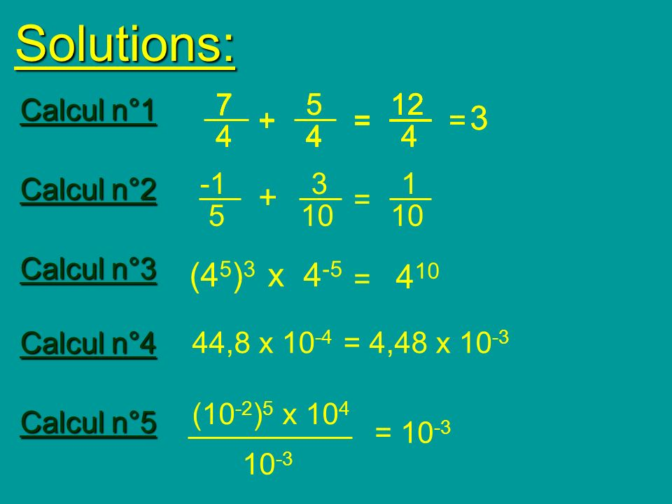 Solutions: 7. 7. 7. 7. 7. 7. 7. 5. 5. 12. 12. 12. 12. 12. Calcul n°1. 3. 3. + + +